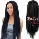 Long Black Micro Box Braid Wig Synthetic Nonce Lace Front Braid Wigs For Black Women