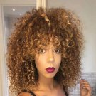 Afro Kinky Curly Wigs for Black Women Short Synthetic Ombre Blonde Wigs