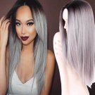 Long Straight Ombre Grey Wigs for Black Women Cosplay Wigs Synthetic Heat Resistant Hair