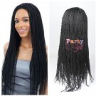 Long Synthetic Micro Braid Wig Senegalese Twist Nonce Lace Braid Wigs For Black Women