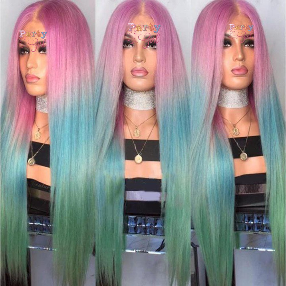 Long Straight Ombre Wigs for Women Cosplay Wigs Synthetic Heat Resistant Hair