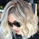 Short Curly Wavy Wigs for Women Ombre Brown Blonde Wigs Synthetic Heat Resistant Hair