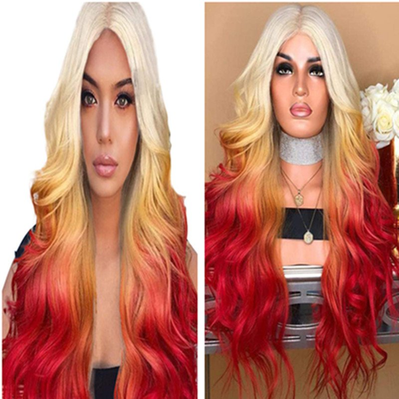 Long Wavy Ombre Red Wigs for Women Cosplay Wigs Synthetic Heat Resistant Hair