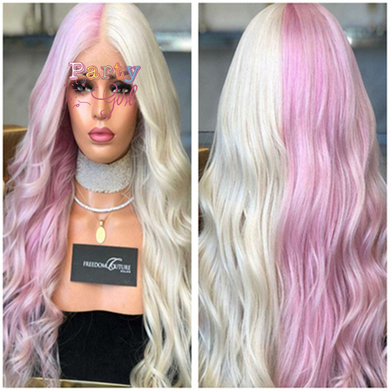Long Wavy Curly White Pink Wigs for Women Cosplay Wigs Synthetic Heat Resistant Hair