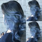 Long Wavy Curly Ombre Blue Wigs for Women Middle Part Wigs Synthetic Heat Resistant Hair
