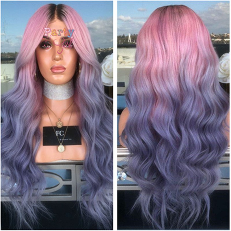 Long Wavy Curly Ombre Purple Wigs for Women Cosplay Wigs Synthetic Heat Resistant Hair