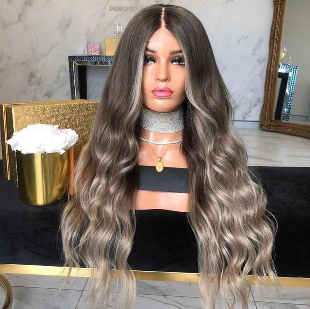 Synthetic Curly Hair Wig Long Brown Grey Ombre Wigs for Black Women