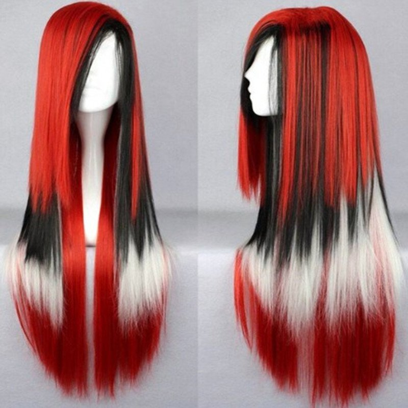 Long Straight Cosplay Wigs Synthetic Red Black White Mixed Color Wigs For Women