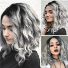 Short Curly Wigs for Black Women Synthetic Ombre Grey Wigs