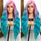 Pink Blue Ombre Wigs for Women Synthetic Long Curly Wavy Cosplay Wigs