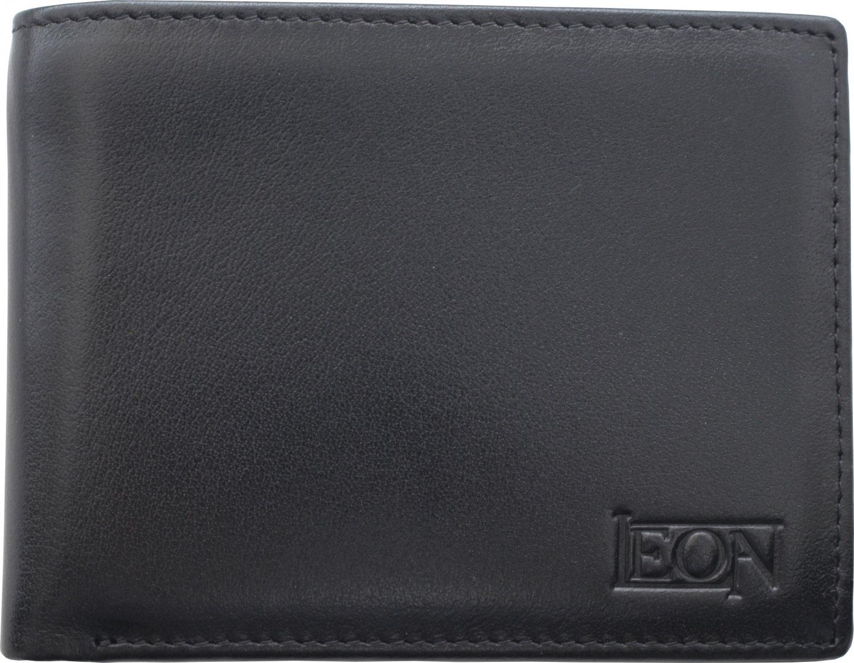 RFID Blocking Genuine Leather Wallet for Men - Slimfold Bifold Front Pocket  - Black - Leon