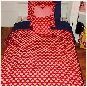 "Hearts & Denim Valentine theme American girl doll or 18"" Doll 5 Pcs Bedding Set"