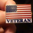 AMERICAN FLAG WITH VETERAN SCRIPT PIN
