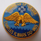 USS Charles P. Ware DD-865  Ship Patch