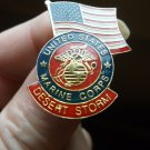 DESERT STORM AND AMERICAN FLAG PIN USMC