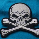 LIGHT GREY SKULL AND CROSSBONES BIKER PATCH