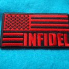 INFIDEL AMERICAN FLAG BLACK AND RED PATCH
