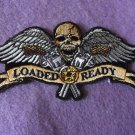 LOADED AND READY SKULL WINGS GUNS BIKER PATCH