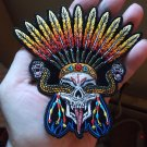 WICKED SNAKE SKULL AND FEATHERS NATIVE AMERICAN BIKER PATCH