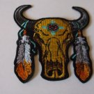 Native American Buffalo Head and Feathers Biker Patch -