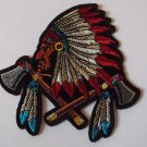 INDIAN HEAD AND HEADDRESS AND BATTLE AXES PATCH