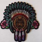 LADIES NATIVE AMERICAN HEAD DRESS ROSES AND WOLF BIKER PATCH
