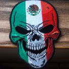 MEXICAN FLAG SKULL BIKER PATCH