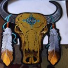 Buffalo Skull and Feathers Embroidered Iron on Biker Patch - 12x12 inch