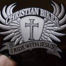 Christian Biker I Ride With Jesus Embroidered Iron on Biker Patch - 10 x  8 1/2 inch