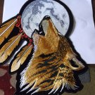 HOWLING WOLF AND MOON FEATHERS BIKER PATCH