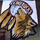 LONE WOLF HOWLING AT THE MOON AND FEATHERS BIKER PATCH