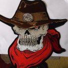 COWBOY SKULL AND HAT WITH RED SCARF BIKER PATCH