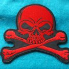 Red Skull and Crossbones Biker Patch