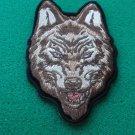 Brown Wolf Head Biker Patch