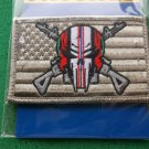 ENDURING FREEDOM SKULL AND RIFLESON AMERICAN FLAG PATCH VELCRO