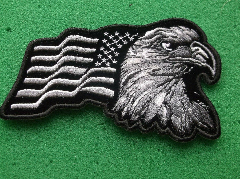 Eagle With Waving Flag Black Silver Patriotic Biker Patch