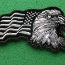 Eagle With Waving Flag Black Silver Patriotic Biker Patch