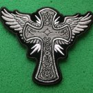 Cross with Wings Christian Biker Patch