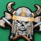 Viking Skull With Axes and Horn Helmet Biker Patch