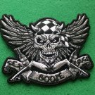 Sex Booze Drugs Checkered Skull and Wings Biker Patch