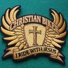Christian Biker Gold Yellow I Ride With Jesus  Biker Patch