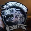 No Clubs No Rules Just Ride Wolf Biker Back  Patch