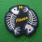 Pisces Skull Zodiac Sign Biker Patch