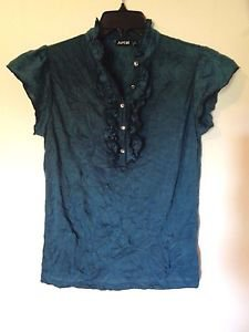 WOMENS BLOUSE SHIRT TOP STRETCHY SZ SMALL BY APT 9 GREEN RUFFLES