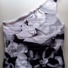 WHITE HOUSE BLACK MARKET Floral One Shoulder Top - White Black - Medium M 34477