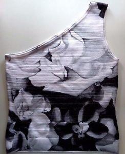 WHITE HOUSE BLACK MARKET Floral One Shoulder Top - White Black - Medium M 34477