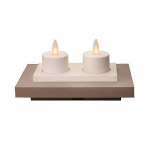 Luminara 2 Rechargeable Tea Lights with Base - Unscented White - 1 set