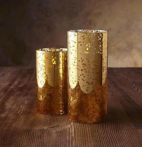 "Luminara Flameless Candle - 3.5"" Dia. Glass Cylinder - Gold Mercury Unscented"