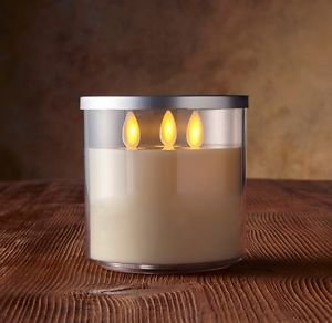 "4"" Luminara Flameless Candle - Rechargeable Tri-Wick Acrylic Jar Ivory Unscented"