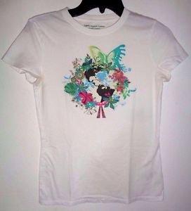 100% Organic Cotton White T-shirt Juniors Short Sleeve Shirt 52469 Medium